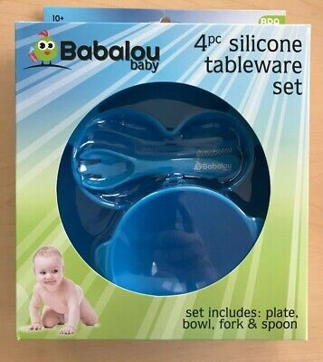 Babalou Baby 4 Piece Silicone Tableware Set Includes: Plate, Bowl, Fork & Spoon