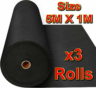 ✔️ 3 Rolls 5M x 1M WEED CONTROL FABRIC LANDSCAPE GROUND COVER MEMBRANE Garden
