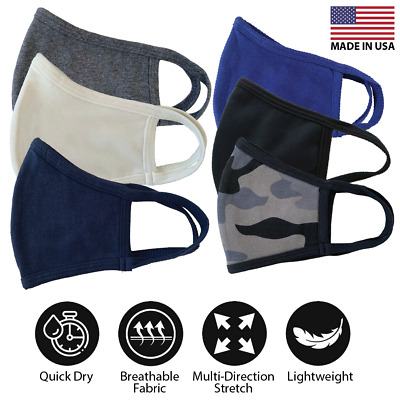 Face Cover Mask 100% Cotton Unisex Washable Reusable Double Layers Made In USA