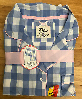 New Love To Lounge Primark Pure Cotton Pyjamas Large UK 14/16 Blue White Check