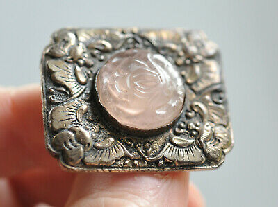 Beautiful Antique Chinese Export Brooch w/ Bees and a Carved Rose Quartz Flower