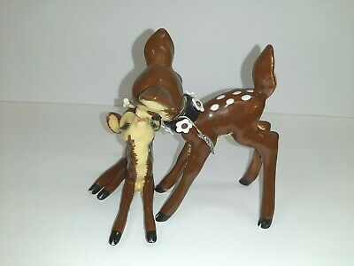 Deer Mated Pair Ceramic Figurines Dear Dearest Spotted Flowers Hand Painted Vtg