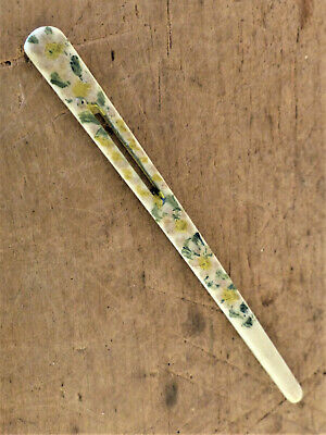 Antique VINTAGE Sewing Tool Painted FLORAL Bovine Bone BODKIN Ribbon Threader #2