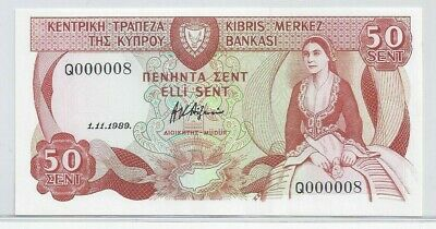 1989 Cyprus £50 Cents # 000008  Low Serial #8  Central Bank Of Cyprus Banknote