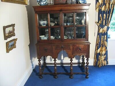 Antique Late 17Th Century Oak Display Cabinet On Stand Circa 1680