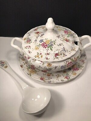 Vintage Diamondstone Laveno Lidded Soup Tureen With Under Plate And Ladle Italy