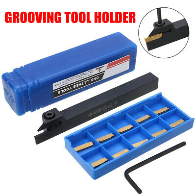 10Pcs MGMN200 Inserts + MGEHR1212-2 Lathe Cutter Grooving Tool + L Wrench