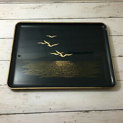 Otagiri Lacquerware Japan Blue Golden Large Seagull Tray Vintage