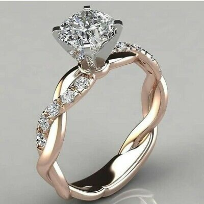 Newest Women's Fashion 925 Sterling Silver Ring Two Tone 18k Rose Gold Diamond R