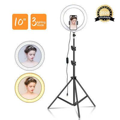 """10"""" Dimmable Selfie Ring Light LED Makeup Live Video Photography Camera+ Tripod"""