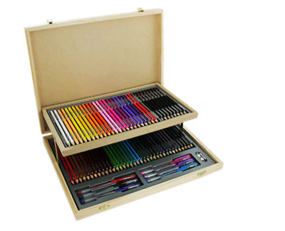 Brand New Boxed/Sealed 75 Piece Wooden Case Stationery Set