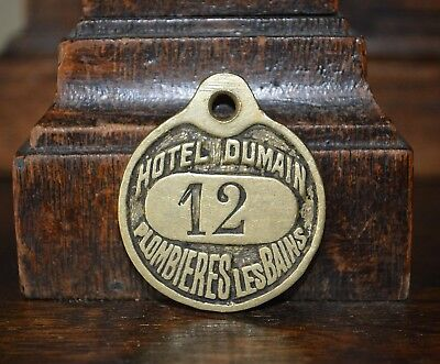 One Antique Rare French Brass Number Key Tag Hotel Dumain Plombieres Les Bains
