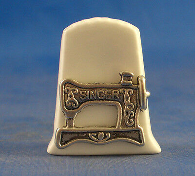 Birchcroft China Thimble  -- Cameo Antique Silver Singer Sewing Machine with Box
