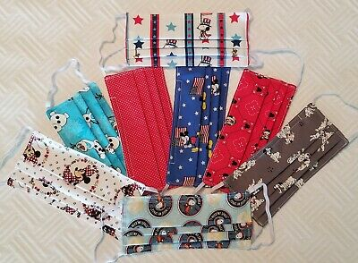 Disney & Snoopy Handmade Face Cover Mask 100 % Cotton 2 Layers and elastic. USA