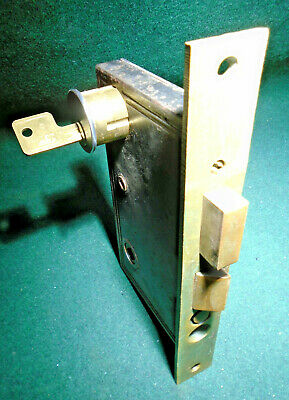 "1893 READING HARDWARE #1700 1/2 L MORTISE LOCK w/CYLINDER & KEYS  3"" BS(11186-3)"