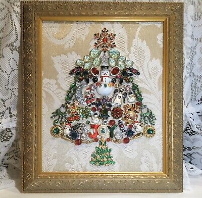 Vintage Mod Christmas Jewelry Tree Framed Picture