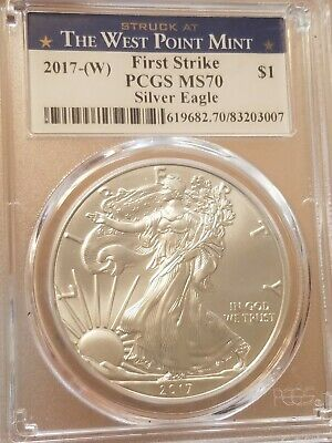 2017 W 1 Oz American Silver Eagle PCGS MS70 First Strike West Point Label
