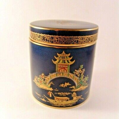 Early Carlton Ware Blue Mikado Gold Jar Box with Lid England Art Deco Chinese