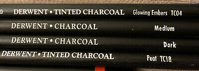 Lot Of 4 Various Derwent Charcoal Pencils Tinted Art Artist Drawing School