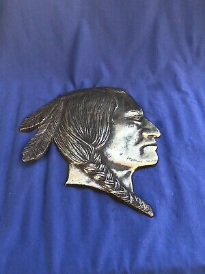 Large Rare Vintage Cast Brass Indian Head Chief Native American Wall Art 1' Wide
