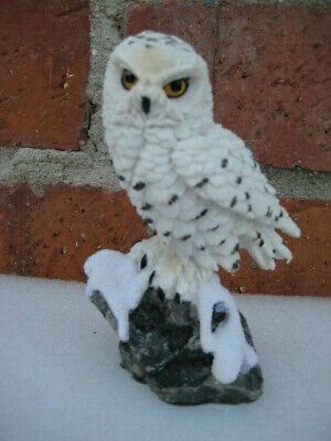 """White Snowy Owl On Rock Figurine Statue 5"""" High Detailed Resin"""