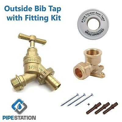 Outside Tap Kit, Bib tap with Garden Hose Pipe and Wall Mounting Plate DIY Trade