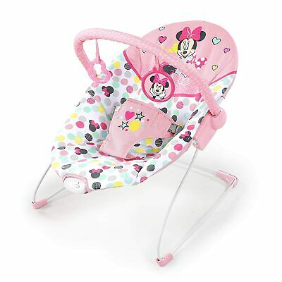 Bright Starts Disney Baby Minnie Mouse Vibrating Bouncer with Toy bar- Spotty