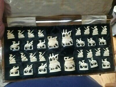 Antique India Maharaja chess set  middle of 20 century.  Very rare. With board.