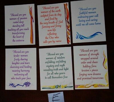 Calligraphy Cards By Heartbeats Pack of 6 Assorted Spiritual Cards New E