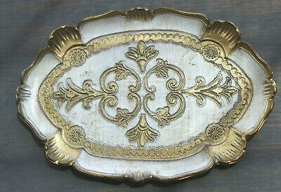 """Vintage Florentine Gold Ivory Oval Dressing Wooden Tray Made in Italy 10"""" x 7"""""""