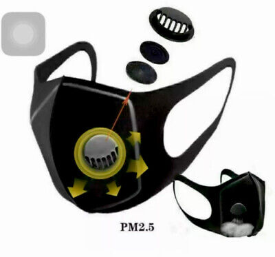 2x Breathable & Washable Face & Mouth Mask with Valves Protection UK STOCK SALE!