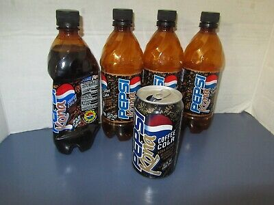 Pepsi Kona Soda can and bottle lot super rare one bottle still full with pepsi p