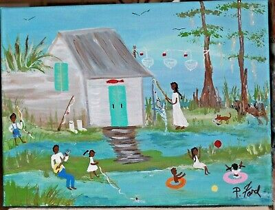 Primitive Southern Black Americana Folk Art Original Painting 9X12  By P.ford