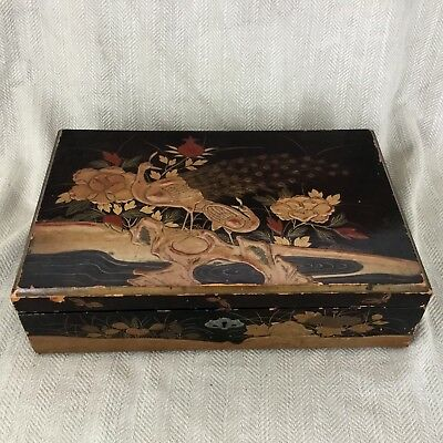 ANTIQUE JAPANESE LACQUERED WRITING SLOPE STATIONARY BOX GILT C 1880 Peacock
