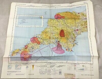 1966 Vintage Military Map of England South West Topographical Flight Chart RAF