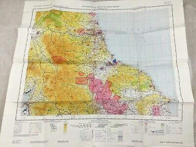 1966 Military Map of North East England Yorkshire Coast Topographical Chart RAF