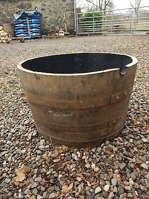 Recycled Rustic Solid Oak Half ex Whisky Barrel Planter Garden Ornament UK De