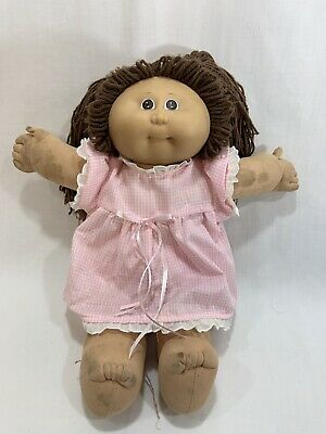 Vtg 1985 Coleco Cabbage Patch Kids Girl Doll Brown Hair w/Dress Outfit #1 HM