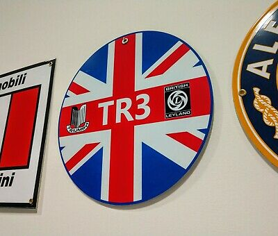 British Car British Leyland . Triumph TR3 sign .