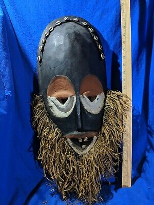 Large Mask with Grass Beard and Great Colors — Authentic Carved African Wood Art