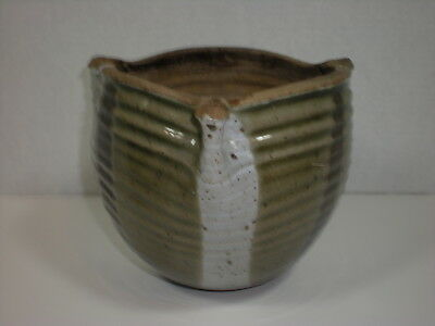 Vtg Hanging Planter Heavy Pottery Pinched sides mid century modern