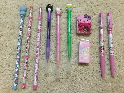Hello Kitty pen pencil eraser lot Sanrio New