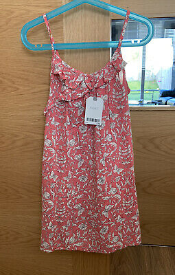 Next Girls Pink White Strappy Summer Dress Age 6 Years 5-6 Bnwt Butterfly Floral