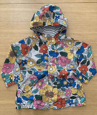 Next Girls Bright Floral Hooded Jacket Age 3-4 Years Rain Coat Cagoule Flowers