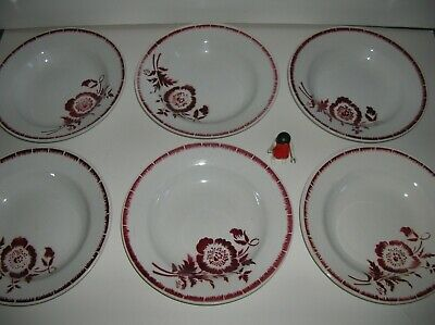6 anciennes assiettes Saint Amand no Digoin vintage red french plates TBE