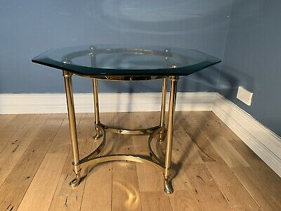 Hollywood Regency Brass And Glass Octagonal Coffee Table 1960's
