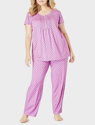 Only Necessities Plus Size Light Orchid Dot Pintucked Pajama Set Size L(18/20)