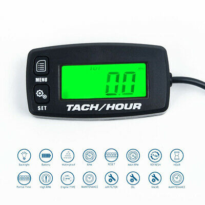 LCD Screen Backlit Digital Tach Hour Meter Tachometer 2/4 Stroke Engines Replace
