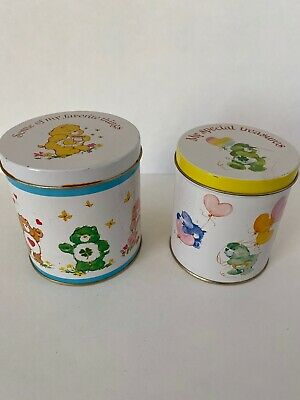 Vintage 1980's American Greetings Care Bears Round Tin Can Nesting Canisters
