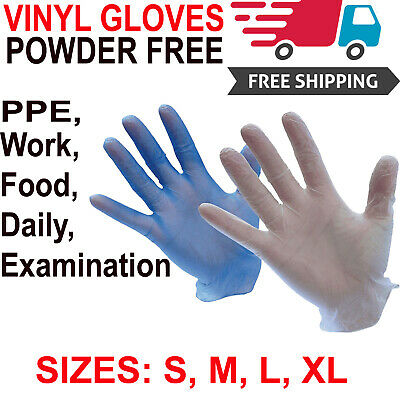 100 Disposable Safety Gloves Ppe Vinyl Powder Latex Free Examination / 10 / 20